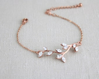 Rose gold bracelet, Bridal bracelet, Wedding jewelry, Bridesmaid bracelet, Crystal bracelet, Rhinestone bracelet, Swarovski bracelet, bangle