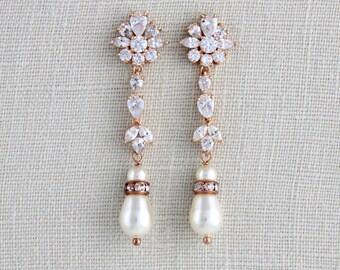Rose Gold Bridal earrings, Crystal Wedding earrings, Wedding jewelry, Long earrings, Pearl drop earrings, Bridal jewelry, Swarovski earrings