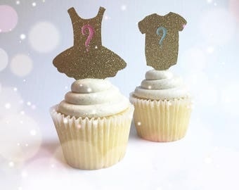 Gold Gender Reveal Cupcake Toppers| Double Sided| Gender Reveal Decorations| Reveal Parties| Reveal Decor| Boy or Girl Toppers