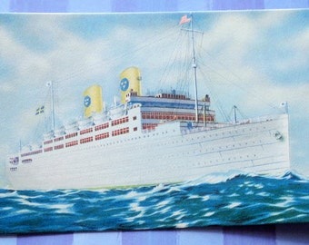 Swedish American Lines SS Kungsholm Color and Sepia Unused Postcards Lot of 2
