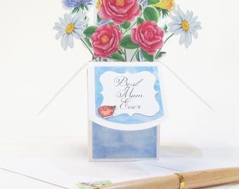 Best Mom Ever - Birthday Pop Up Card - Flower Pop Up Greeting Card - Pop Up Mother's Day Card - Gift Card Holder - 3D Handmade Card