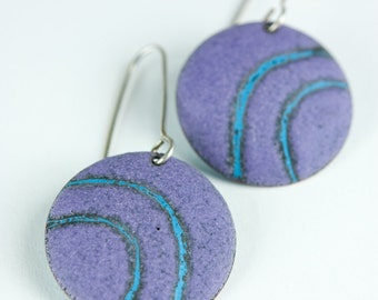 Graphic Sgraffito Earrings Enameled Copper in Matte Purple and Turquoise