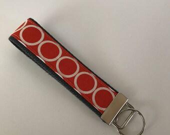 Wristlet Key Fob Key Chain Orange Circles