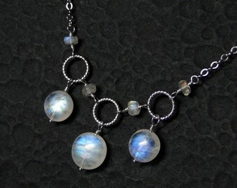 Rainbow Moonstone Necklace on Sterling Silver - Three Moons by CircesHouse on Etsy