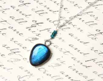 """Labradorite Necklace, London Blue Topaz, Sterling Silver - """"Oceanica"""" by CircesHouse on Etsy"""