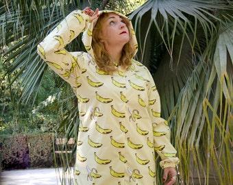 Banana Raincoat, Yellow Pop Art Rain Jacket, Cotton Lining Adjustable Hood