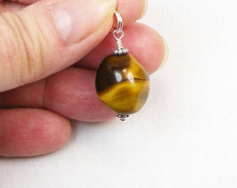 Tiger Eye Pendant - Genuine Gemstone - Gift For Her - Sterling Silver - Gemstone Jewelry - Gemstone Drop - Wire Wrapped Dangle