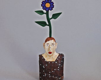 Sculpture- Carved Wood and Antique Tin- Mr. Flower