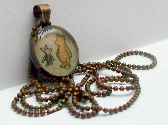Winnie the Pooh and Piglet Best Friends necklace upcycled Pooh image recycled into long antiqued brass necklace