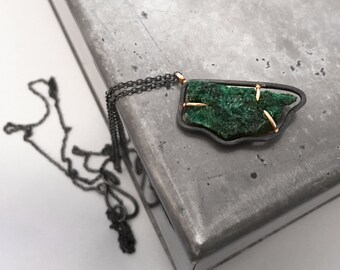 Natural Fibrous Malachite Necklace with 14k gold bail and prongs
