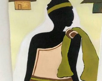 African woman art ,Afrikaans,african American art,black woman painting,  black woman painting,peach dress,African hut,house,brown black