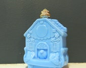Delphite Blue Vintage Milkglass Avon Bottle / Bright Blue Birdhouse Cuckoo Clock / Vintage Avon Perfume Bottle / Vintage Kitsch
