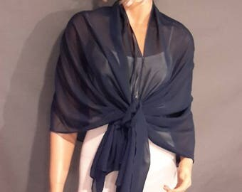 Chiffon pull thru wrap wedding shawl scarf sheer cover up long evening shrug prom stole bridal CW201 AVL in navy blue and 6 other colors