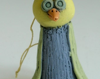 PURPLE BIRD, Bird Ornament, Porcelain Bird, Christmas Tree Ornament, Handmade, Bird Sculpture, Tree Ornament, Bird Figurine, Bird, Clay Bird