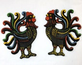 "Vintage Wilton Cast Iron ROOSTER PLAQUES Hanging  Kitchen Wall Decor Pair L & R 6"" x 5"" Chicken Collectible Pair"