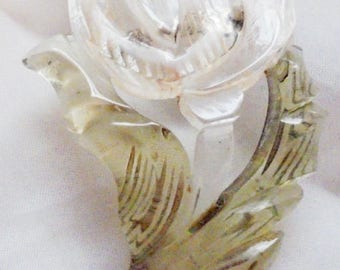 Vintage Large Clear Lucite Rose Pin with Green Lucite Leaves Reverse Carved