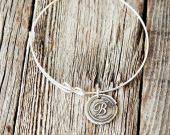 Bangle and Wax Seal Initial Charm