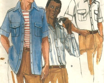 Vintage 70s Vogue 9833 UNCUT Mens Semi-Fitted Shirt with Long or Short Sleeves Sewing Pattern Size 15.5 Chest 40