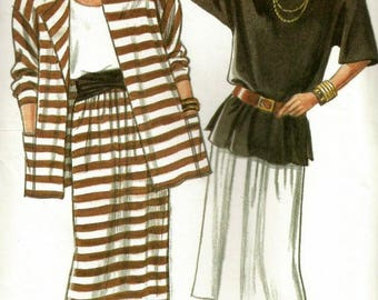 New Look 6834 UNCUT Misses Oversized Jacket, Tank Top, Tunic and Pull-on Skirt Sewing Pattern Sizes 8-18 Bust 31.5-40