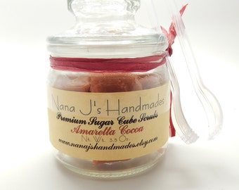 Sugar Body Scrub-Sugar Cube Scrub-Sugar Scrub-Amaretto Cocoa-Exfoliating-Cleansing, 3.5 ounces and tongs included-Nana J's Handmades