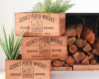 Vintage Whisky Crate / Gloag's Perth Whisky / Rustic Modern Decor