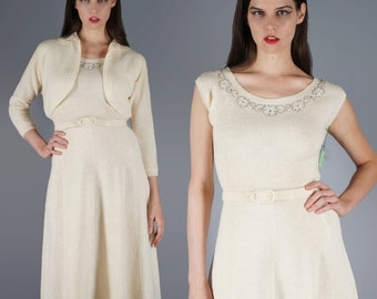 Sweater Dress Beaded Nubby Knit Dress with Matching Bolero Jacket Cream Ivory 50s Dress