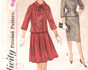 Simplicity 3646 UNCUT 1960s Misses Suit with Two Skirts Vintage Sewing Pattern Wiggle Skirt Jacket Mad Men Style Bust 32 34 or 36
