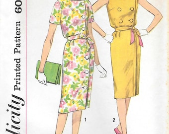 Simplicity 3816 UNCUT 1960s Front Closing Double Breasted Dress Vintage Sewing Pattern Bust 32 or 31 Sleeveless