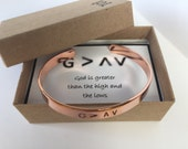 God is Greater Than The Highs And Lows. Inspirational Cuff Bracelet. Christian Bracelet.  Rose Gold / Gold / Aluminum cuff Bracelet. Faith.