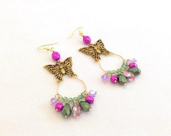 butterfly earrings, butterfly hoop earrings, golden butterfly jewelry, gypsy earrings, niobium, bohemian earrings