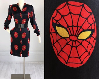 Vintage 60s 70s SPIDERMAN Bagarre Italian Silk Dress novelty print RARE pockets cute amazing size S M black and red