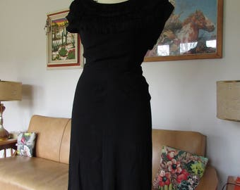 Vintage 1930s 1940s Crepe black cocktail dress with fringed yokes and dolman sleeves AS IS
