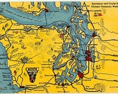 Vintage Washington State Postcard - Sportsman and Tourist Map of the Olympic Peninsula (Unused)