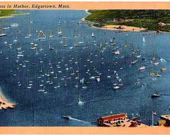 Vintage Martha's Vineyard Postcard - Yachts in Harbor, Edgartown (Unused)