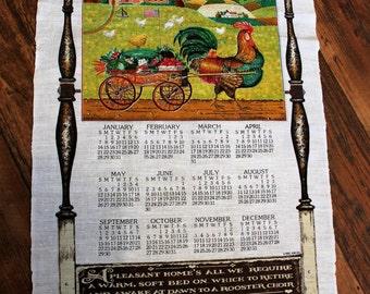 1996 Kay Dee Tea Towel Calendar, Rooster, Cart of Vegetables