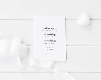 Greeting Card, Black and White Card, Typography Card, Sympathy Card, Typography Greeting, Don't Give up Hope, Encouragement Card, Love Card