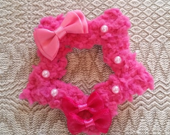 2-Way Sharp Pink Bow Fuzzy Star Barrette and Pin Combo