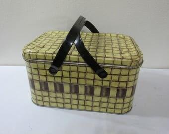 Tin Picnic Basket 1950s Yellow and Brown Plaid
