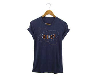Science! Tee - Boyfriend Fit Crew Neck T-shirt with Rolled Cuffs in Heather Navy Tri-Blend - Women's Size S-4XL