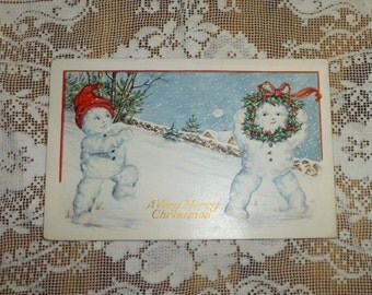 Antique Christmas Post Card Postcard Snowmen Snowman Woman Whitney Made