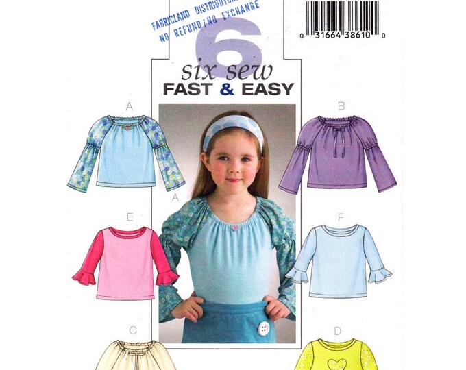 Girls Pullover Raglan Top Pattern Butterick 4275 Ruffle Sleeve Sewing Pattern Size 2 3 4 5