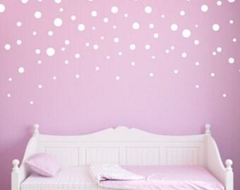 Polka Dot Wall Decals, Mixed Size Confetti Dot Decals, Kids Wall Decals, Nursery Wall Decals, Wall Stickers, White Polka Dots