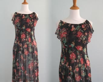 Gorgeous 80s Albert Nipon Sheer Floral Dress - Vintage Sheer Flapper Dress - Vintage 1980s Dress S
