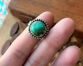 Cheyenne Turquoise Sterling Silver Stamped Ring - Size 6 - Boho Hippie Bohemian ponderbird