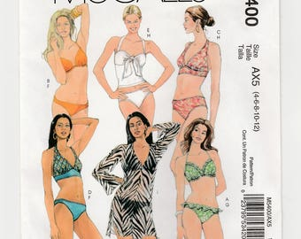 McCall's M5400 Swimsuit Misses Two-Piece Bathing Suit-Cover-Up Sewing Pattern 4-6-8-10-12 Bikini-Lined Halter-Pullover Top-Camisole Design