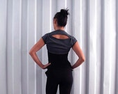 Cropped tee bolero shrug - Yoga top - dance wear - workout - athleisure. Charcoal - stripe - stone. Size SM and ML