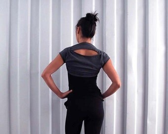 Cropped tee bolero shrug - Yoga top - dance wear - workout - athleisure. Charcoal - stripe - stone. Size SM and ML
