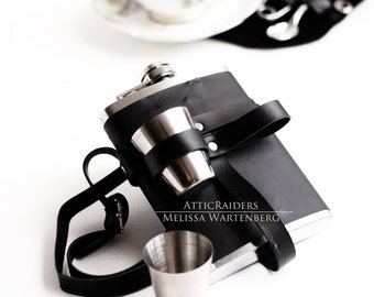 Black Leather Steampunk Flask