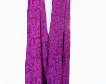 Paisley Chiffon Scarf Women's Clothing - Fashion Accessory Magenta Purple Scarf Soft Scarf - Long Batik Scarf - Gift for Her by PuaWear