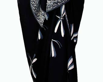Dragonfly Skirt Beach Sarong Pareo Wrap Skirt Womens Clothing Black & Gray Sarong Batik Sarong Elegant Beachwear Beach Skirt Cover Up - Gift